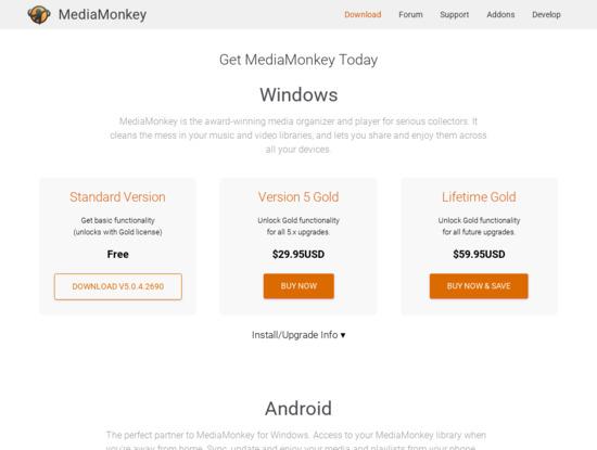 Screenshot of www.mediamonkey.com