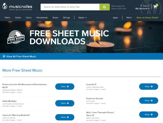 Screenshot of www.musicnotes.com