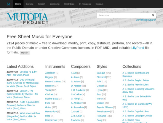 Screenshot of www.mutopiaproject.org