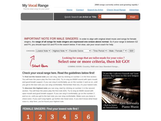 Screenshot of www.myvocalrange.com