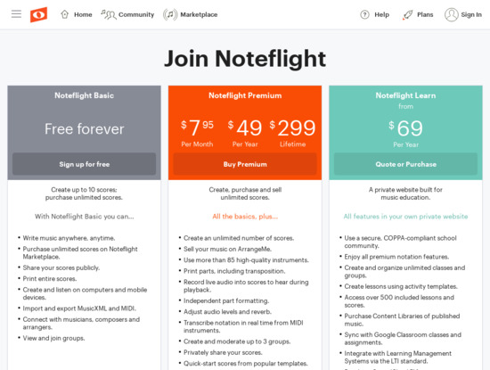 Screenshot of www.noteflight.com