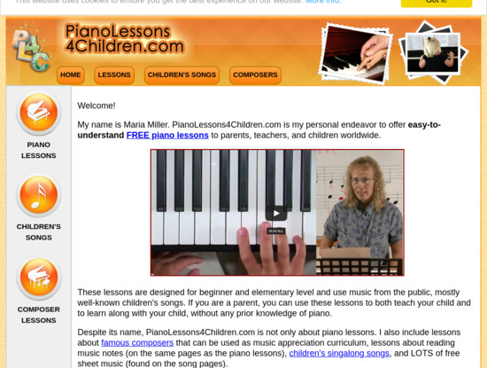Screenshot of www.pianolessons4children.com