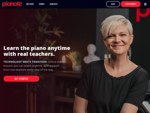Screenshot of www.pianote.com