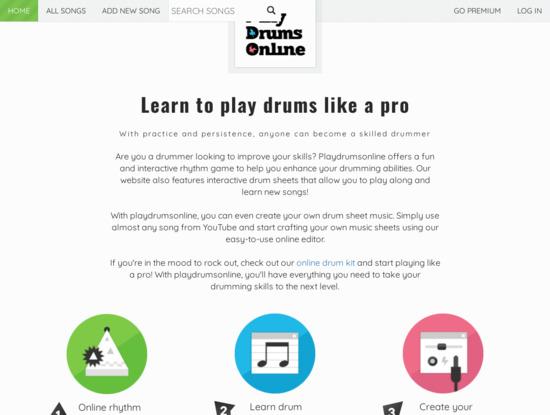 Screenshot of www.playdrumsonline.com