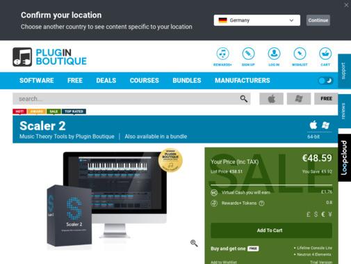 Screenshot of www.pluginboutique.com