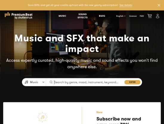 Screenshot of www.premiumbeat.com