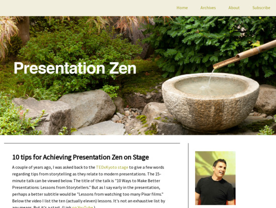 Screenshot of www.presentationzen.com