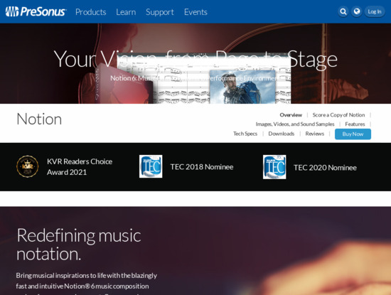 Screenshot of www.presonus.com