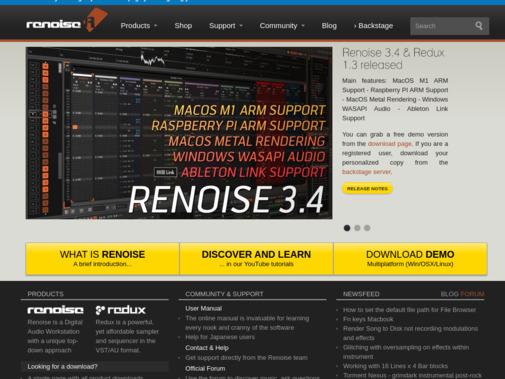 Screenshot of www.renoise.com