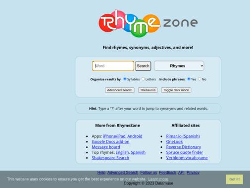 Screenshot of www.rhymezone.com