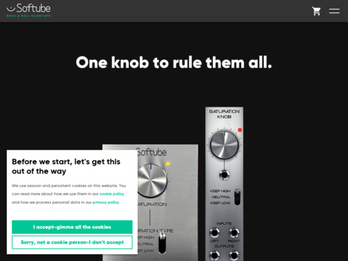 Screenshot of www.softube.com