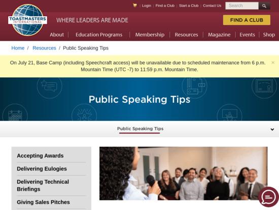 Screenshot of www.toastmasters.org