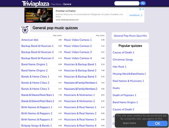 Screenshot of www.triviaplaza.com
