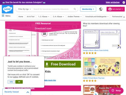 Screenshot of www.twinkl.ie