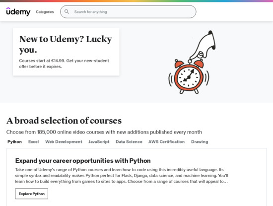 Screenshot of www.udemy.com