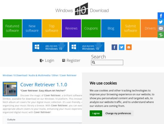 Screenshot of www.windows10download.com
